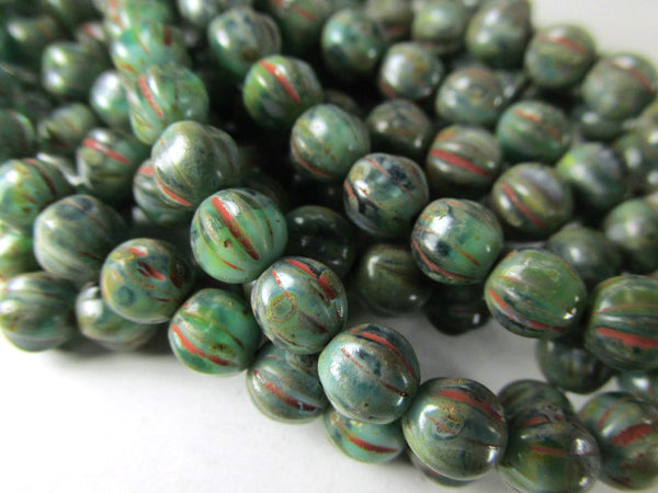 Green Red Picasso 6mm Czech Glass Melon Jewelry Beads (25)-Jewelry Beads-Odyssey Cache