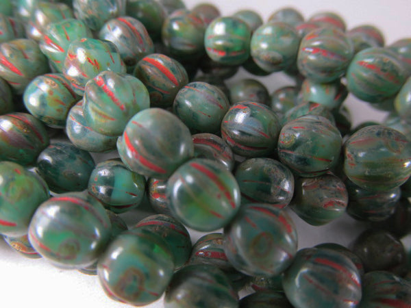 Green Red Picasso 6mm Czech Glass Melon Jewelry Beads (25) - Odyssey Cache