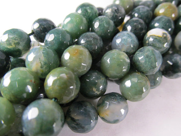 Green 10mm Round Micro-Faceted Serpentine Semiprecious Stone Gemstone Jewelry Beads - Odyssey Cache