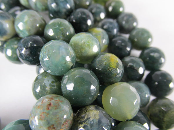 Green 10mm Round Micro-Faceted Serpentine Semiprecious Stone Gemstone Jewelry Beads-Jewelry Beads-Odyssey Cache