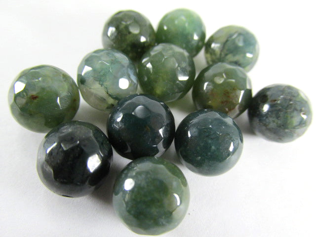 Green 10mm Round Micro-Faceted Serpentine Semiprecious Stone Gemstone Jewelry Beads-Jewelry Beads-12 beads-Odyssey Cache