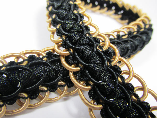 Double Scalloped Border Black and Gold Braided Gimp Decorator Trim-Trims-Odyssey Cache
