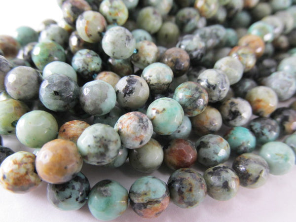 African Turquoise Faceted 6mm Round Semiprecious Gemstone Jewelry Beads (20) - Odyssey Cache