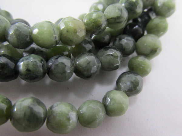 Light and Dark Green 6mm Round Faceted Serpentine Semiprecious Stone Beads - Odyssey Cache