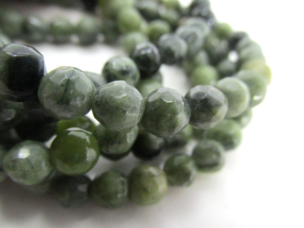 Light and Dark Green 6mm Round Faceted Serpentine Semiprecious Stone Beads-Jewelry Beads-Odyssey Cache