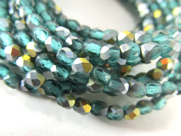 Green Teal Aqua AB Matte Czech 3mm, 4mm or 6mm Fire Polished Beads - Odyssey Cache
