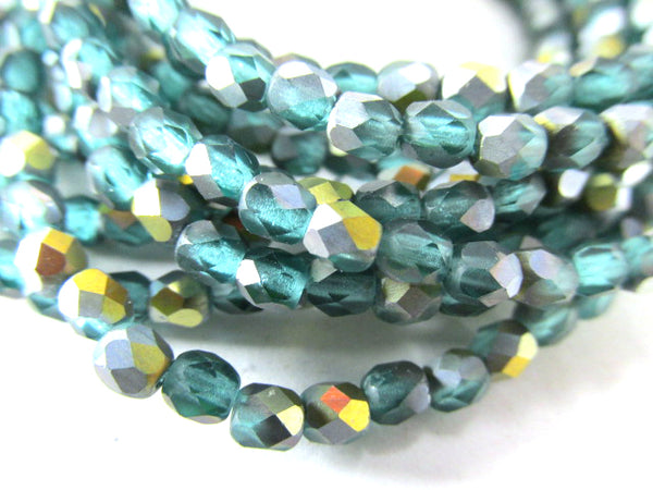 Green Teal Aqua AB Matte Czech 3mm, 4mm or 6mm Fire Polished Beads-Jewelry Beads-Odyssey Cache