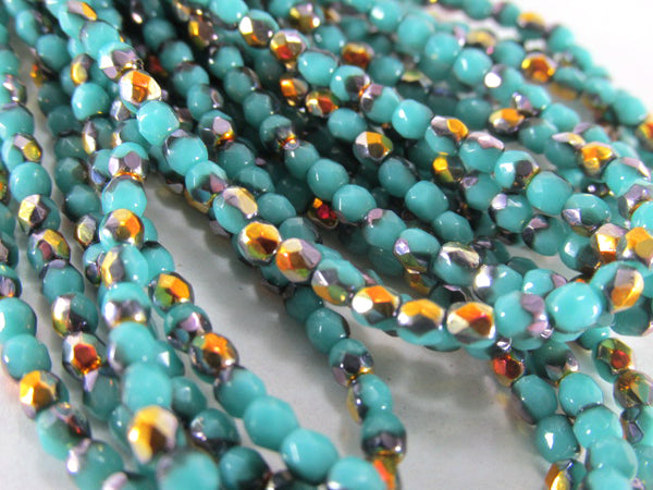 Blue Turquoise Luster Czech 3mm Fire Polished Jewelry Beads with Gold Copper (50 beads) - Odyssey Cache