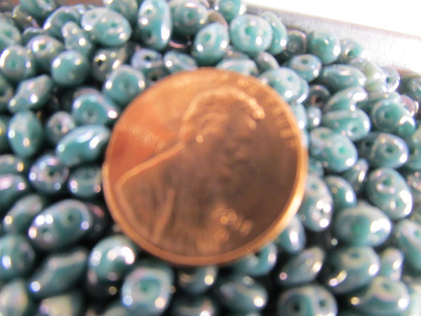 Nebula Opaque Turquoise Czech Glass SuperDuo Two-Hole Jewelry Beads (8 grams) - Odyssey Cache