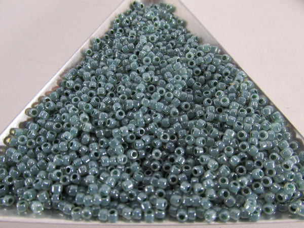 Aqua Ceylon Dark Seafoam Glass 11/0 Takumi Large Hole Toho Glass Seed Beads (10 grams) - Odyssey Cache