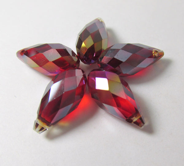 Marsala Dark Red Siam AB 16mm x 8mm Crystal Briolettes (6)-Jewelry Beads-Odyssey Cache
