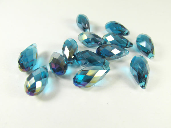 Peacock Blue Teal AB 16mm x 8mm Briolettes (6)-Jewelry Beads-Odyssey Cache