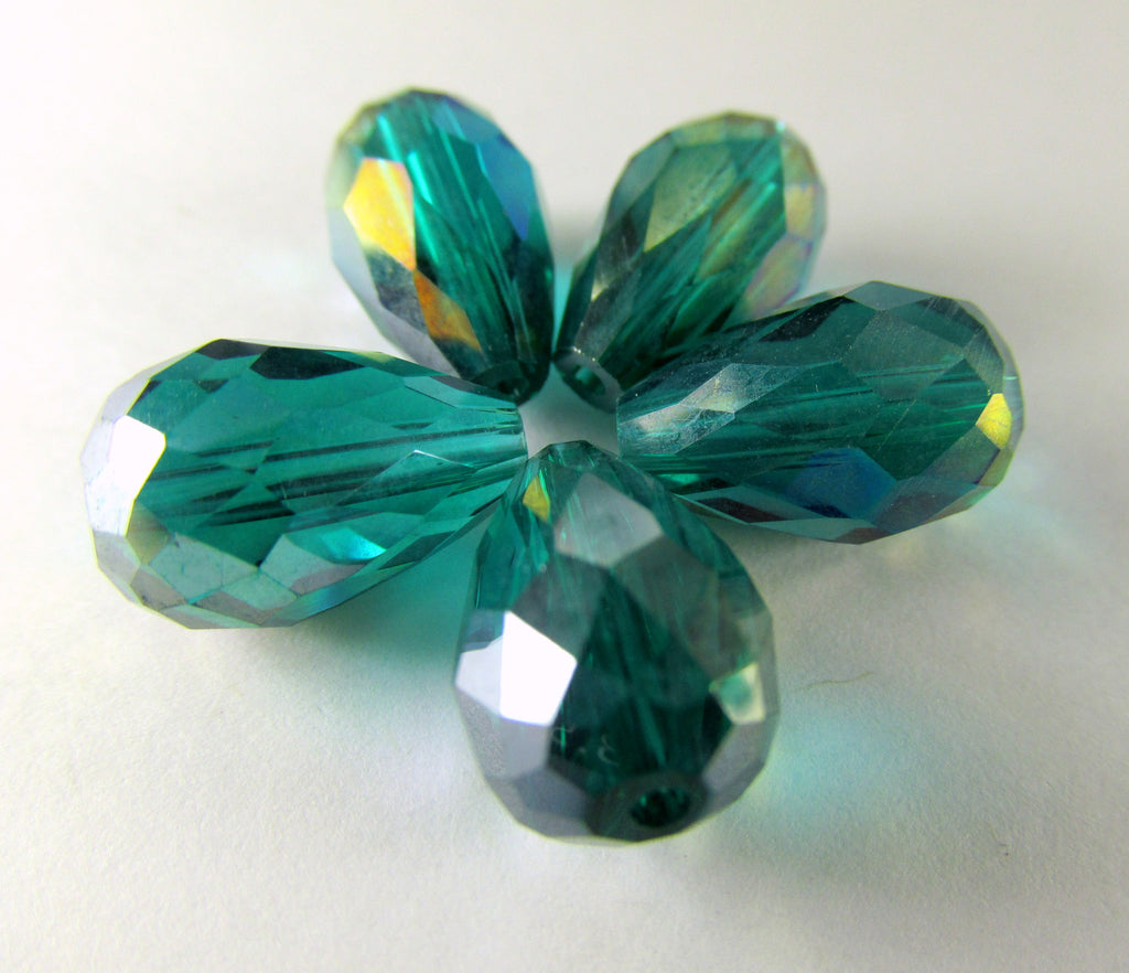 Peacock Green AB 14mm x 10mm Faceted Crystal Teardrops (6)-Jewelry Beads-Odyssey Cache