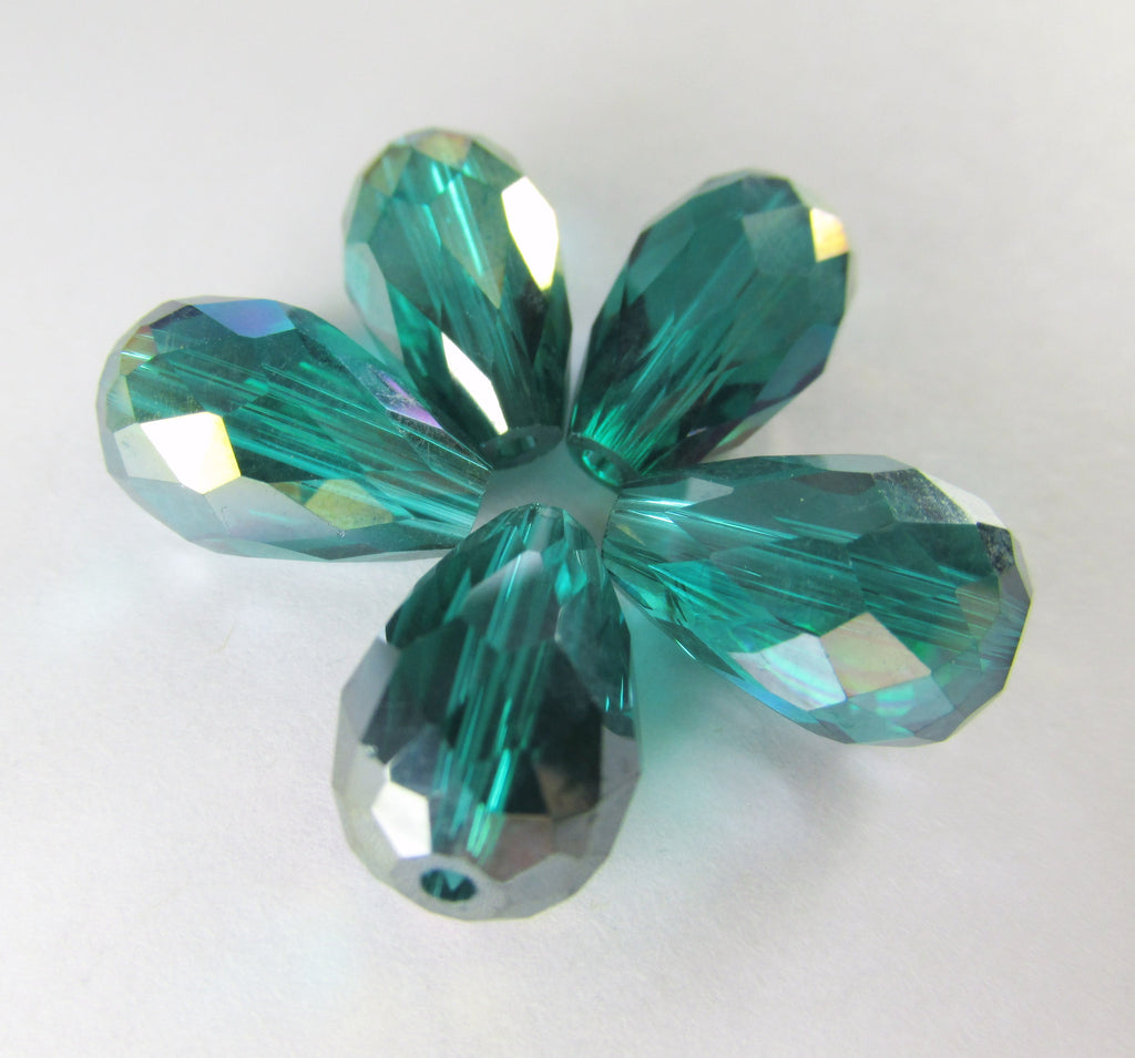 Emerald Green 14mm x 10mm Faceted Crystal Teardrops (6) - Odyssey Cache