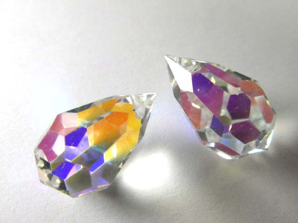 Titania Crystal AB Czech Preciosa Crystal 20mm x 12mm Faceted Teardrop Briolettes-Jewelry Beads-Odyssey Cache