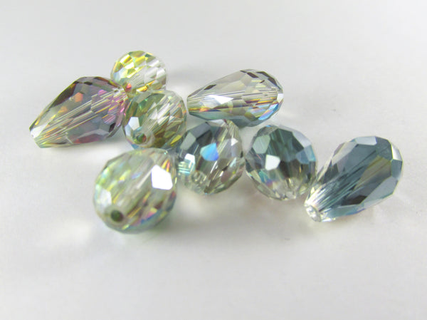 Green Pink Colorized 14mm x 10mm (6 beads) or 12mm x 8mm (7 beads) Faceted Crystal Teardrops - Odyssey Cache