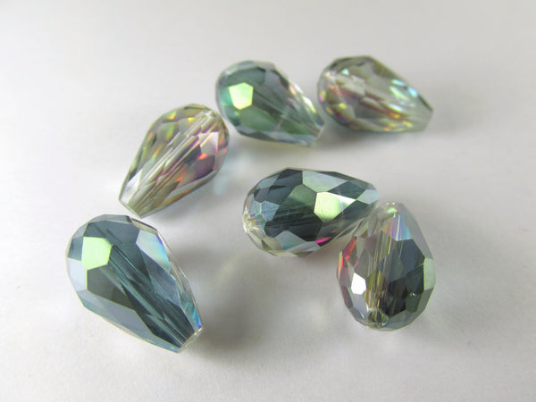 Green Pink Colorized 14mm x 10mm (6 beads) or 12mm x 8mm (7 beads) Faceted Crystal Teardrops-Jewelry Beads-14mm x 10mm (6 beads)-Odyssey Cache