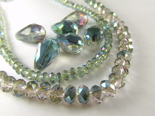 Green Pink Colorized 14mm x 10mm (6 beads) or 12mm x 8mm (7 beads) Faceted Crystal Teardrops-Jewelry Beads-Odyssey Cache