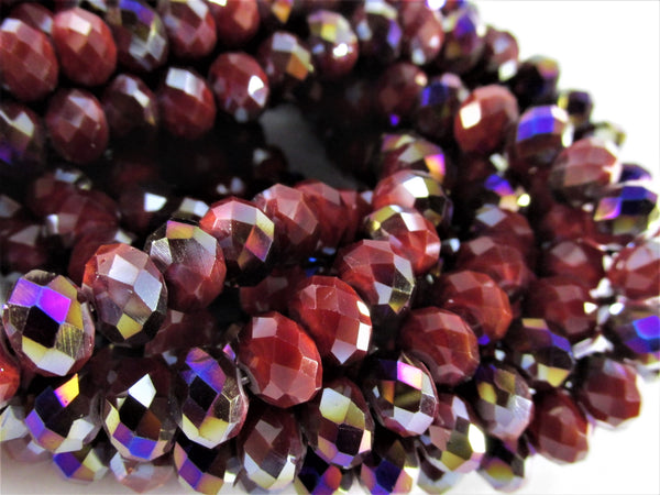 Dark Red Purple Peacock AB Chinese Crystal 8mm x 6mm Rondelles (50 beads)-Jewelry Beads-Odyssey Cache
