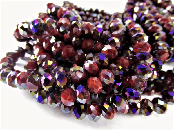 Dark Red Purple Violet Chinese Crystal 8mm x 6mm Rondelles (50 beads) - Odyssey Cache