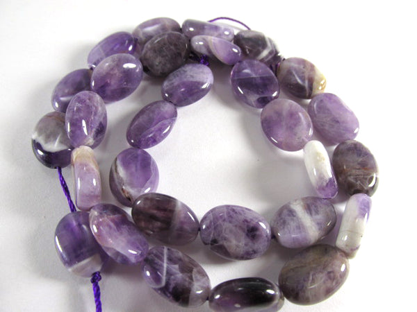 Amethyst Purple Brown White Marbled Smooth Polished Oval Semiprecious Stone Beads (15 beads)-Jewelry Beads-Odyssey Cache