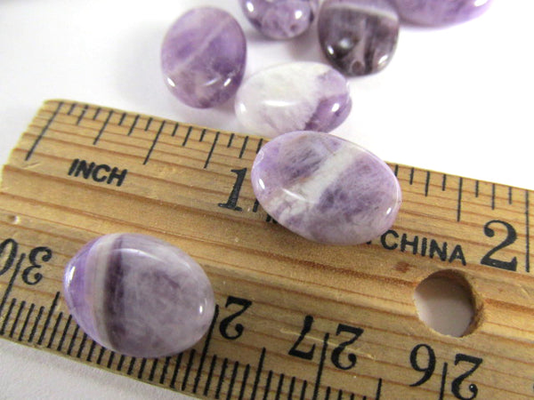 Amethyst Purple Brown White Marbled Smooth Polished Oval Semiprecious Stone Beads (15 beads) - Odyssey Cache
