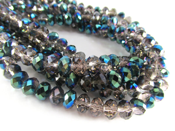 Smokey Gray, Teal and Blue Half Tone Chinese Crystal Rondelles 8mm x 6mm Jewelry Beads - Full Strand-Jewelry Beads-Odyssey Cache