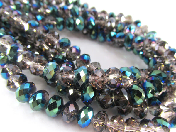 Smokey Gray, Teal and Blue Half Tone Chinese Crystal Rondelles 8mm x 6mm Jewelry Beads - Full Strand - Odyssey Cache