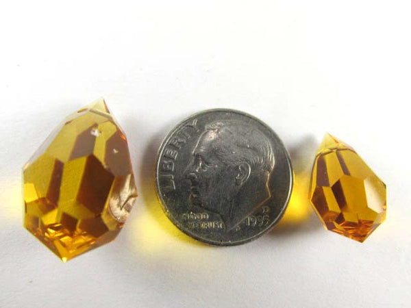 Topaz Czech Preciosa Crystal 20mm or 15mm Faceted Teardrop Briolettes-Jewelry Beads-Odyssey Cache