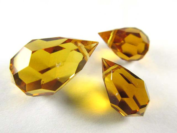 Topaz Czech Preciosa Crystal 20mm or 15mm Faceted Teardrop Briolettes-Jewelry Beads-3 piece set-Odyssey Cache