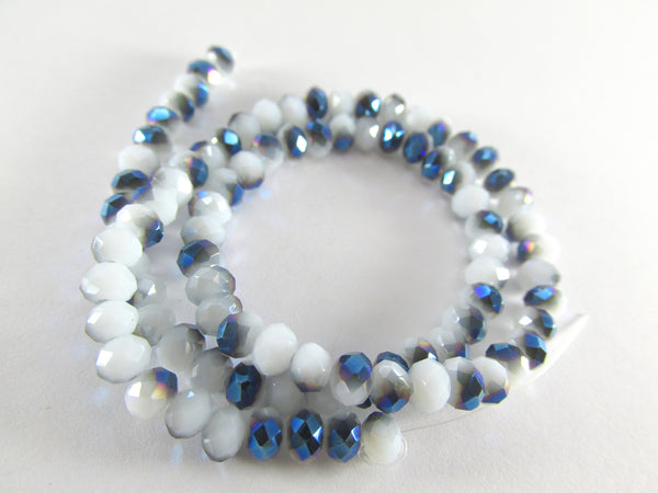 White and Blue Colorized 6mm x 4mm Rondelles (50)-Jewelry Beads-Odyssey Cache