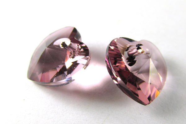 Antique Pink 10mm Crystal Hearts by Swarovski (2)-Jewelry Beads-Odyssey Cache