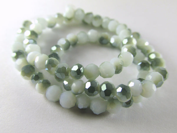 White and Green Chinese Crystal 4mm x 3mm Rondelles-Jewelry Beads-Odyssey Cache