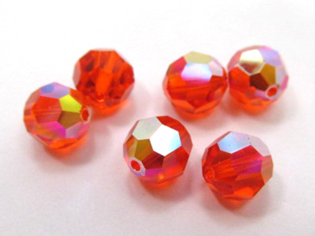 Hyacinth AB Swarovski 5000 8mm Faceted Round Orange Red Jewelry Beads (6) - Odyssey Cache