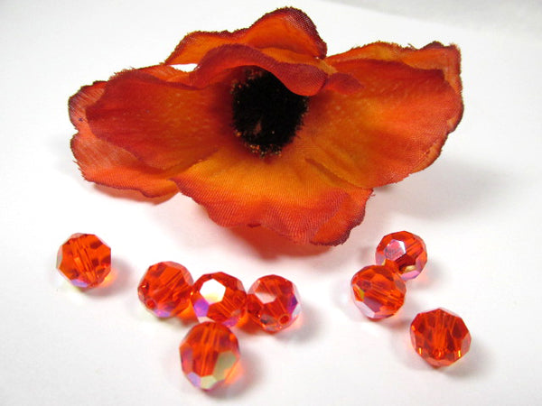 Hyacinth AB Swarovski 5000 8mm Faceted Round Orange Red Jewelry Beads (6)-Jewelry Beads-Odyssey Cache