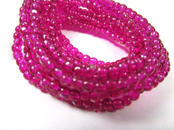 Magenta Hot Pink Czech Glass 3mm Round Druk Red Orange and Yellow Jewelry Beads (50) - Odyssey Cache