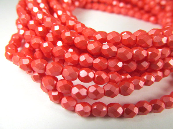 Coral Matte Czech glass fire polished 4mm faceted jewelry beads-Jewelry Beads-Odyssey Cache