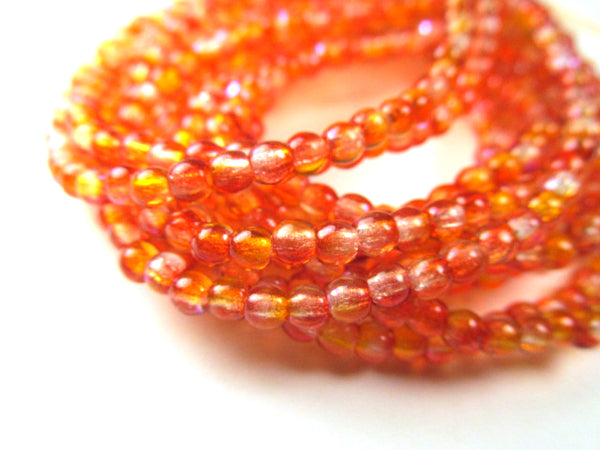 Red AB Czech Glass 3mm Round Druk Red Orange and Yellow Jewelry Beads (50) - Odyssey Cache