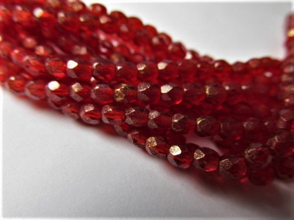 Marbled Gold Siam Ruby Red Czech Glass 3mm Fire Polished Jewelry beads (50) - Odyssey Cache