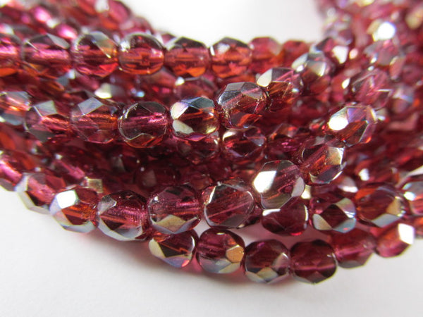 Fuchsia Celsian Czech Glass 4mm Fire Polished Faceted Jewelry Beads (50)-Jewelry Beads-Odyssey Cache