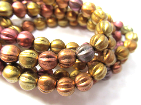 Metallic Mix Czech Glass 6mm Fluted Round Melon Jewelry Beads (25)-Jewelry Beads-Odyssey Cache