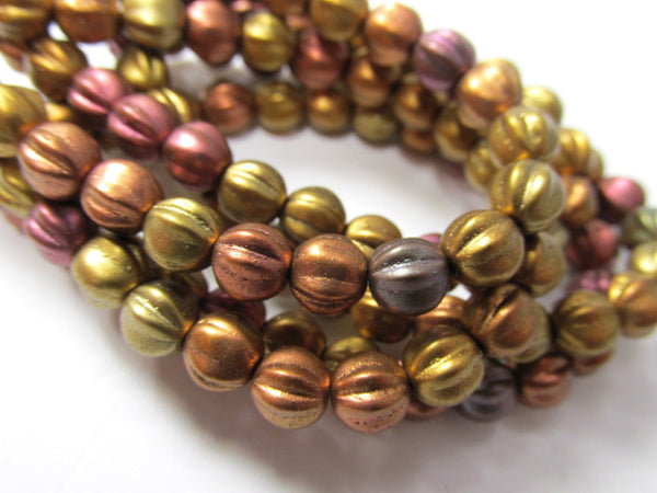 Metallic Mix Czech Glass 6mm Fluted Round Melon Jewelry Beads  (25) - Odyssey Cache