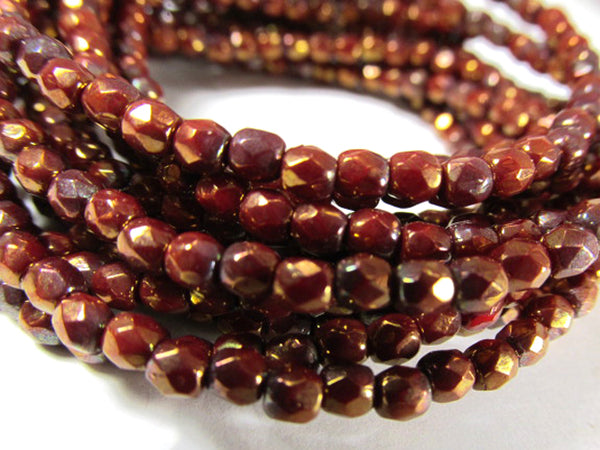 Cherry Gold Luster Czech Glass 3mm or 4mm Fire Polished Faceted Jewelry Beads with Gold Highlights (50)-Jewelry Beads-Odyssey Cache