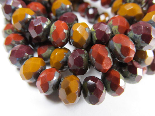 Chestnut Marsala Rust Czech Glass 8mm x 6mm Faceted Rondelle Jewelry Beads (10)-Jewelry Beads-Odyssey Cache