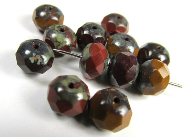 Chestnut Marsala Rust Czech Glass 8mm x 6mm Faceted Rondelle Jewelry Beads (10) - Odyssey Cache