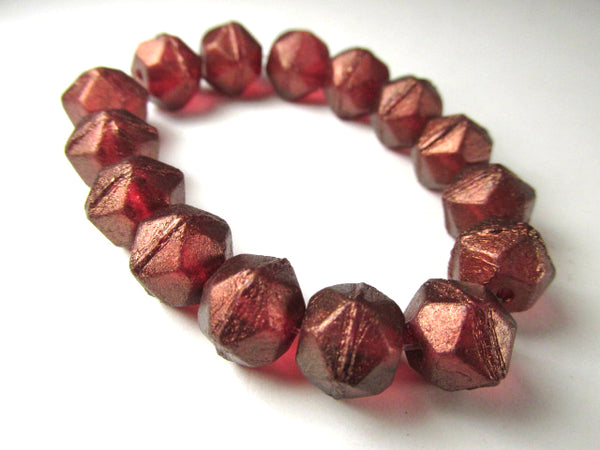 Burgundy Golden Luster 10mm Czech Glass English Cut Faceted Jewelry Beads (10) - Odyssey Cache