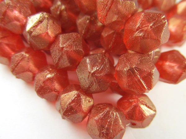 Bittersweet Orange Red Gold Luster 10mm Czech Glass English Cut Faceted Beads (10) - Odyssey Cache