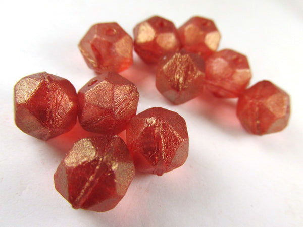 Bittersweet Orange Red Gold Luster 10mm Czech Glass English Cut Faceted Beads (10)-Jewelry Beads-Odyssey Cache