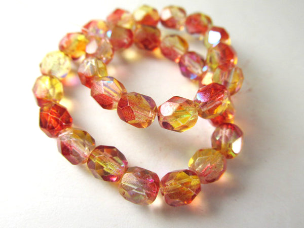 Orange AB Czech Glass 6mm Fire Polished Jewelry Beads (25) - Odyssey Cache