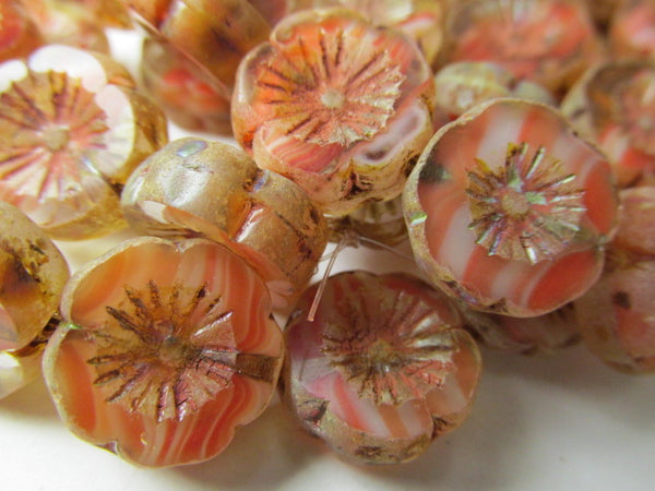 Coral Orange Czech Glass 14mm Hawaian Flower Jewelry Beads (5 beads) - Odyssey Cache